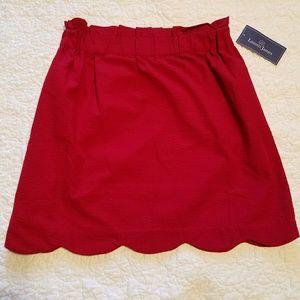 NWT Lauren James scalloped seersucker skirt